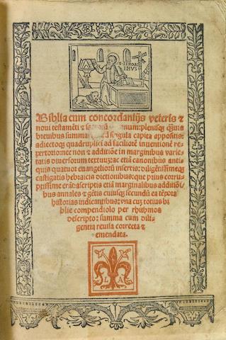 [BIBLE.] Biblia cum concordantiis veteris [et] novi testamenti. Venice [Lyons?]: Lucantonio Giunta, 1519.