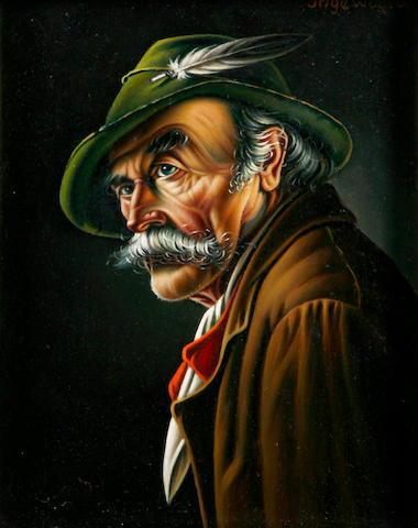 Inge Wolfle (German, born 1928) A portrait of a Tyrolean man 7 x 5 1/2in