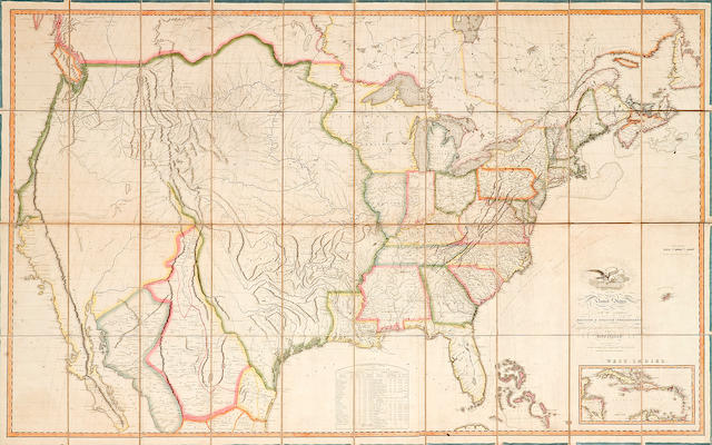 MELISH, JOHN. 1771-1822. THE FIRST WALL MAP OF THE ENTIRE CONTINENTAL UNITED STATES PRODUCED IN AMERICA.<BR> Map of the United States with the Contiguous British and Spanish Possessions. Philadelphia: John Melish, 1816.