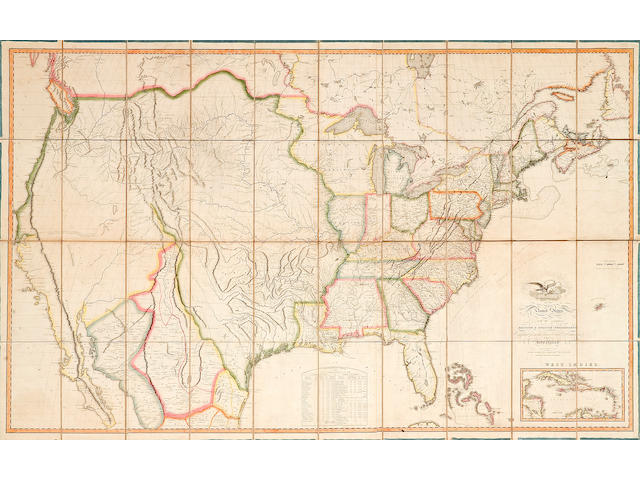 MELISH, JOHN. 1771-1822. THE FIRST WALL MAP OF THE ENTIRE CONTINENTAL UNITED STATES PRODUCED IN AMERICA.  Map of the United States with the Contiguous British and Spanish Possessions. Philadelphia: John Melish, 1816.
