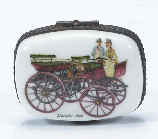 A Limoges porcelain box with 1886 Daimler decoration,