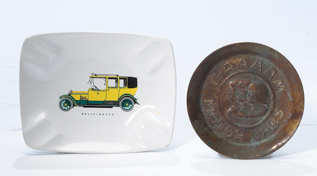A rare Graham Motor Cars copper advertising ashtray,
