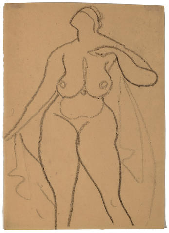 (n/a) Gaston Lachaise (French/American, 1882-1935) Standing nude with drapery 10 x 7in