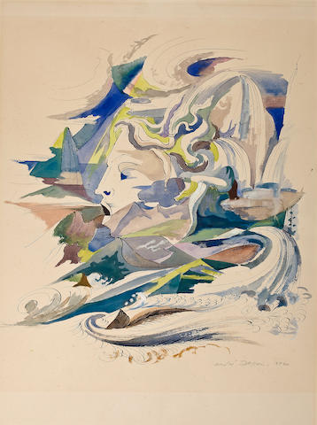 (n/a) André  Masson (French, 1896-1987) L'Auvergne, 1940 24 x 18 7/8in (61 x 48cm)