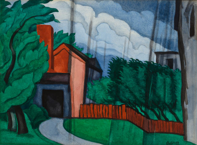 (n/a) Oscar Bluemner (American, 1867-1938) Downpour, 1924 10 3/8 x 13 1/4in