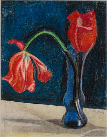 (n/a) Joseph  Stella  (Italian/American, 1877-1946) Red Tulips in Blue Vase sight 13 1/2 x 10 1/2