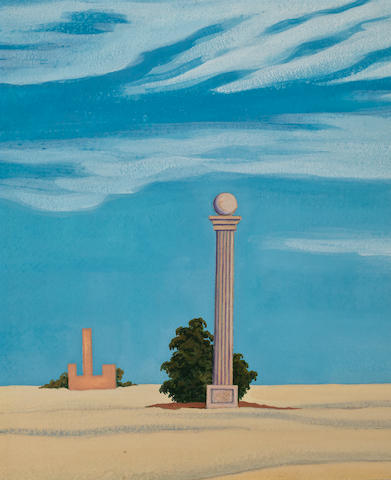 (n/a) George Copeland Ault (American, 1891-1948) Desert Monument 12 1/4 x 10 1/8in