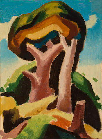 (n/a) Thomas Hart Benton (American, 1889-1975) Landscape with Trees 9 1/2 x 8in