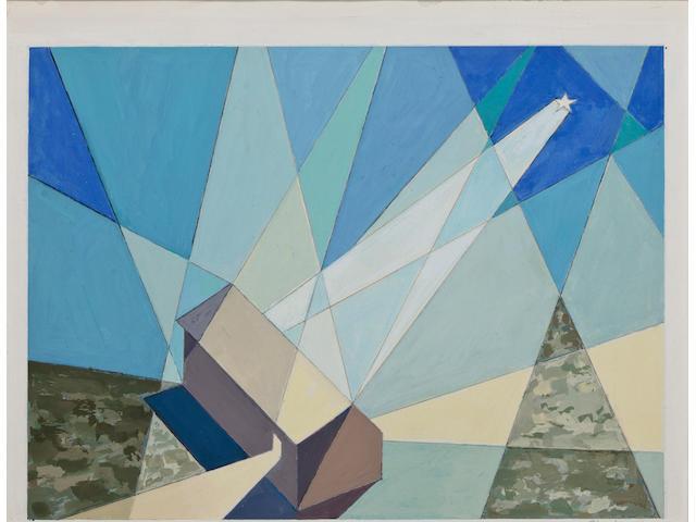 (n/a) Charles Sheeler (American, 1883-1965) Star card 8 1/2 x 10 3/4in, image 7 x 9in