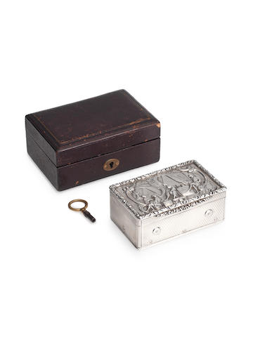 A very fine English silver musical snuffbox, with hidden erotic automaton by Charles Rawling & William Summers, London, 1829,