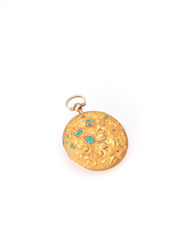 A fine gold and turquoise musical hair locket, circa 1820,