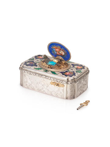 A fine and early silver-gilt and enamel singing bird box, by Charles Bruguier, circa 1823,