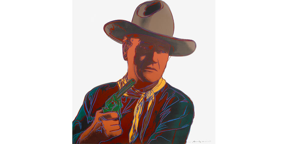 Andy Warhol (American, 1928-1987); John Wayne unique screenprint frmaed;