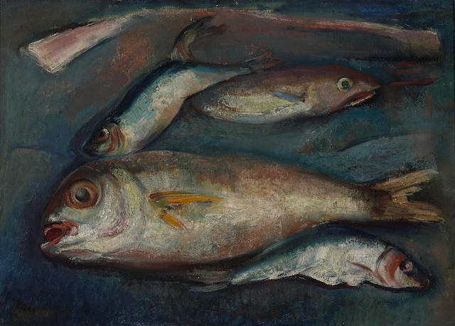 Georges (Karpeles) Kars (Czech, 1882-1945) Untitled (Still life with fish), c. 1930 13 3/4 x 19 11/16in (35 x 50cm)