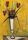Attributed to Bernard Buffet (French, 1928-1999), Red flowers, 1959 25 9/16 x 18 1/8in (65 x 46cm)