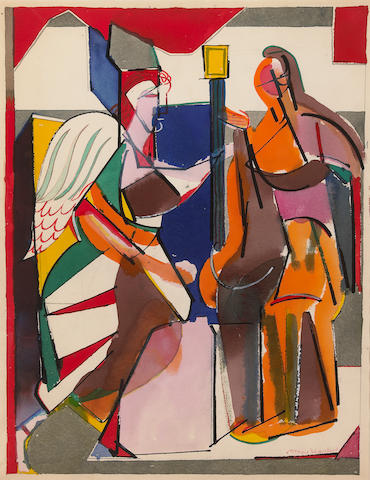 (n/a) Romare Bearden (American, 1914-1988) Abstract figures 26 3/16 x 20 1/4in (66.5 x 51.5cm)