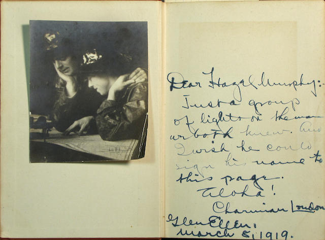 LONDON, JACK. WITH AN ANNE BRIGMAN PHOTOGRAPH OF JACK AND CHARMIAN TIPPED IN.<br> The Human Drift. New York: Macmillan, 1917.