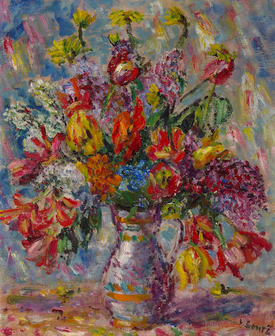 Vincenc Benes, Still life with tulips, poppies and lilacs in a vase, oil on canvas
