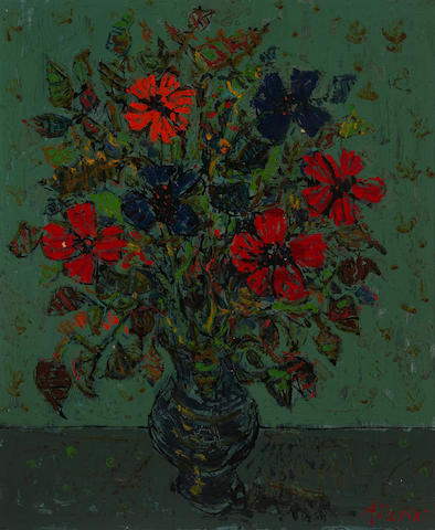 (n/a) Paul Aïzpiri (French, born 1919) Still life with flowers in a vase 21 5/8 x 18 1/8in (55 x 46cm)