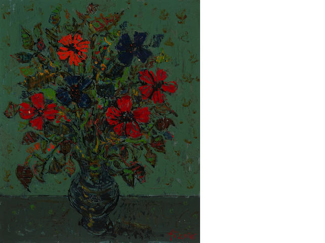 Paul Aïzpiri (French, born 1919), AUTHENTICATING Still life with flowers in a vase 21 5/8 x 18 1/8in (55 x 46cm)