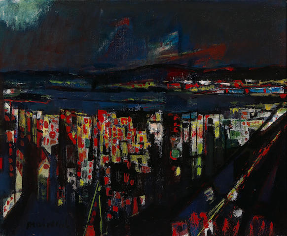 Zvi Mairovich, Haifa at Night, oil on canvas