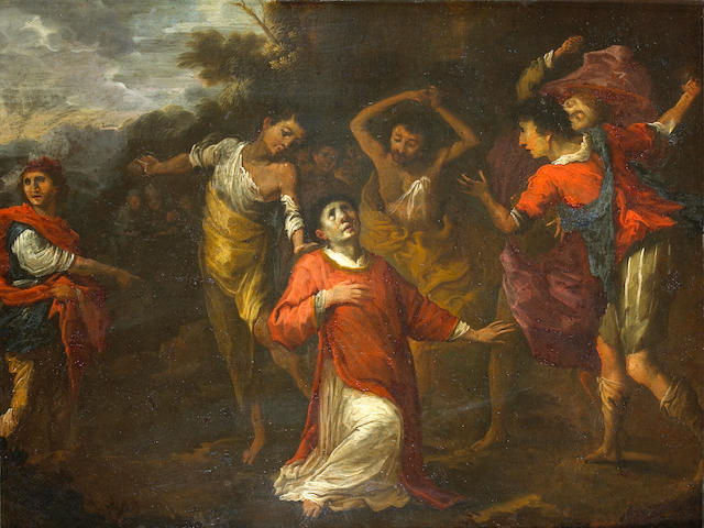 Circle of Jacopo Vignali (Italian, 1592-1664) The stoning of St. Stephen 14 3/4 x 19in