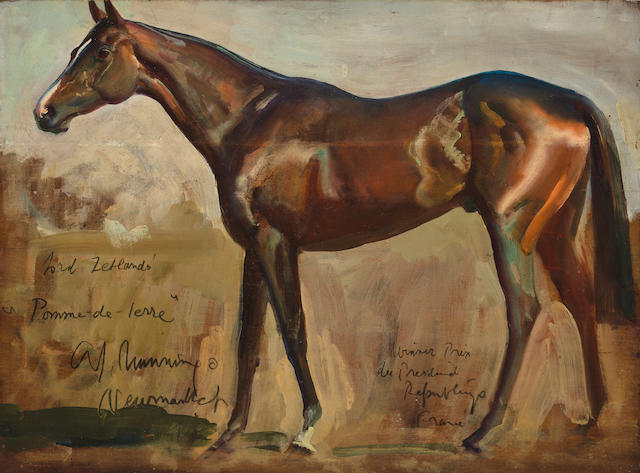 Sir Alfred James Munnings P.R.A., R.W.S. (British, 1878-1959) Lord Zetland's Pomme-de-Terre 11 3/4 x 16in (29.8 x 40.6cm)