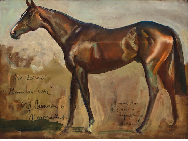 Sir Alfred James Munnings P.R.A., R.W.S. (British, 1878-1959) Lord Zetland's Pomme de Terre 11 3/4 x 16in (29.8 x 40.6cm)