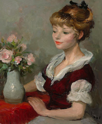 Marcel Dyf (French, 1899-1985) Young girl with a vase of flowers