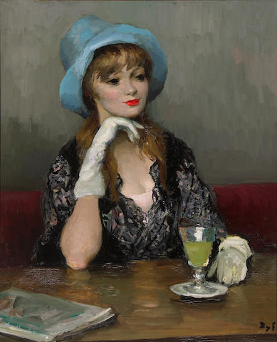 Marcel Dyf (French, 1899-1985) Woman in a blue hat, oil on canvas