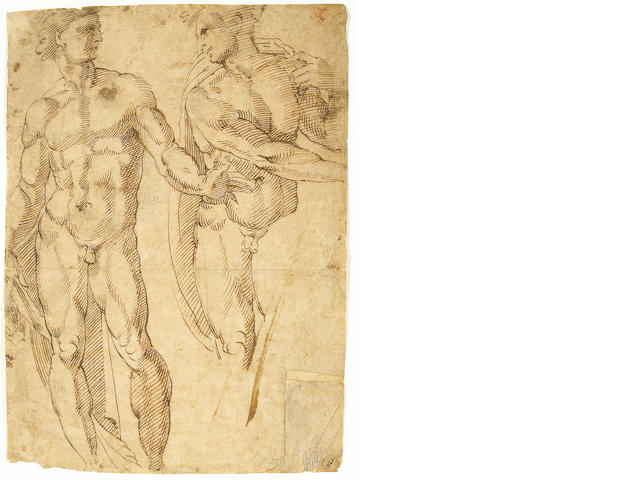 Follower of Baccio Bandinelli (Italian, 1488-1560) A study of two figures 11 x 8in (27.9 x 20.3cm)