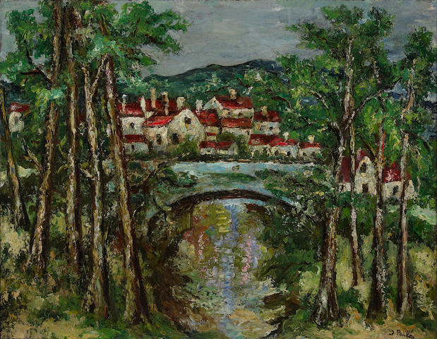 (n/a) Isaac Pailes (French, 1895-1978) Village landscape with bridge 19 7/8 x 25 5/8in (50.5 x 65.1cm)