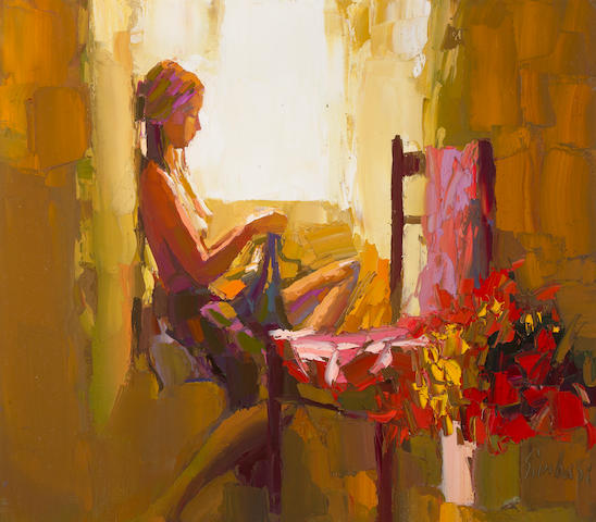 (n/a) Nicola Simbari (Italian, born 1927) Interior with Girl 27 3/8 x 31 1/2in (69.5 x 80cm)