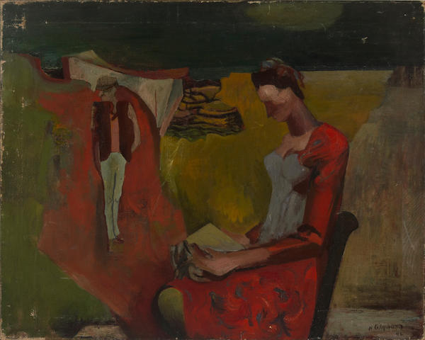 Robert Colquhoun (British, 1914-1962) Untitled (A woman reading), 1942 15 15/16 x 19 7/8in (40.5 x 50.5cm) unframed
