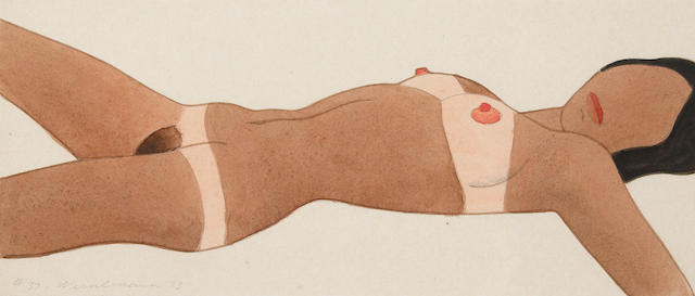 (n/a) Tom Wesselmann (American, 1931-2004) Open Ended Nude (Drawing Edition) #37, 1973 3 7/8 x 8 11/16in (9.8 x 22.6cm)