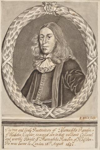 Robert White (British, 1645-1703) Portrait of Marmaduke Randon of Hodsden 7 1/2 x 4 7/8in (19 x 12cm) unframed