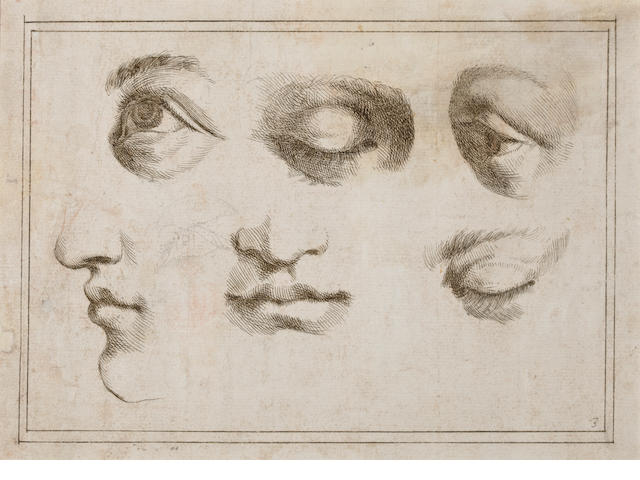 Attributed to Giovanni Francesco Barbieri, called il Guercino (Cento 1591-1666 Bologna) Studies of eyes and mouths 7 x 9 1/2in (17.7 x 42.1) unframed