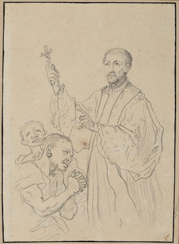 (n/a) Christian Wilhelm Ernst Dietrich (German, 1712-1774) A study of a Saint with supplicants 6 7/8 x 4 7/8in (17.2 x 12.1cm) unframed