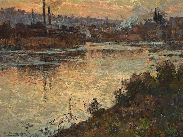 Attributed to Luis Graner y Arrufi (Spanish, 1863-1929) Industrial river scene