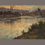 Attributed to Luis Graner y Arrufi (Spanish, 1863-1929) Industrial river scene
