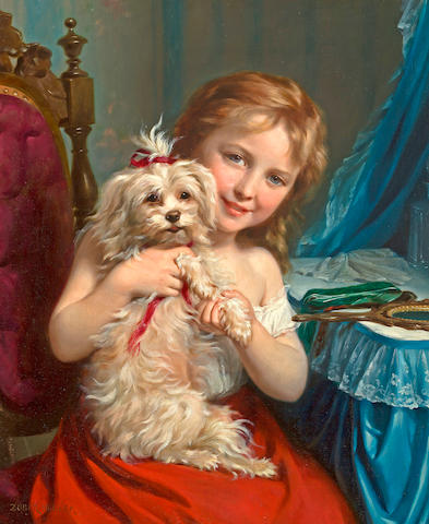 Fritz Zuber-Bühler (Swiss, 1822-1896) A young girl with a bichon frisé 25 3/4 x 21in (65.3 x 53.3cm)