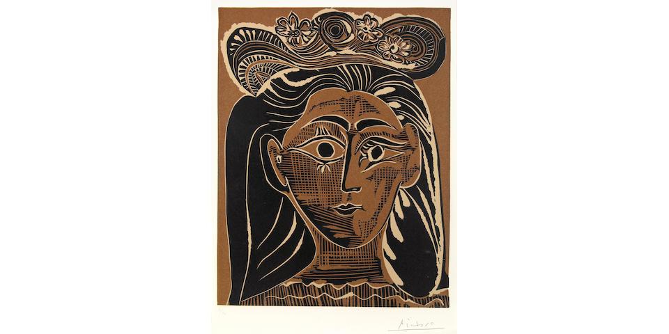 (n/a) Pablo Picasso (Spanish, 1881-1973); Femme au Chapeau à Fleurs;