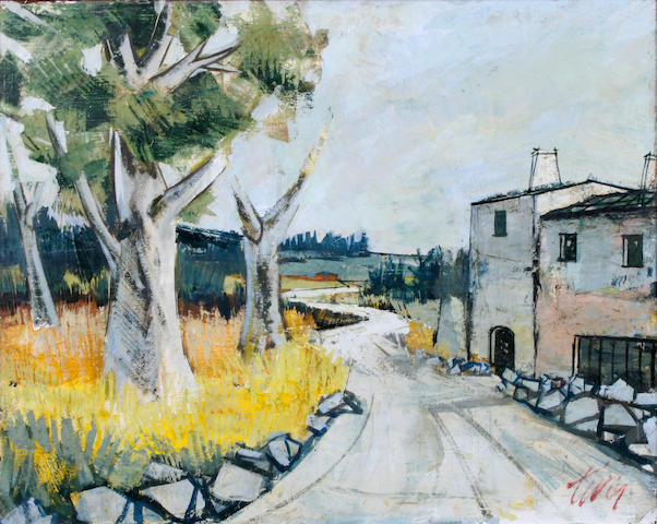(n/a) Charles Levier (French, 1920-2004) Village lane 30 x 34in