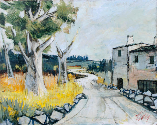 Charles Levier (French, born 1920) Village lane 34 x 30in