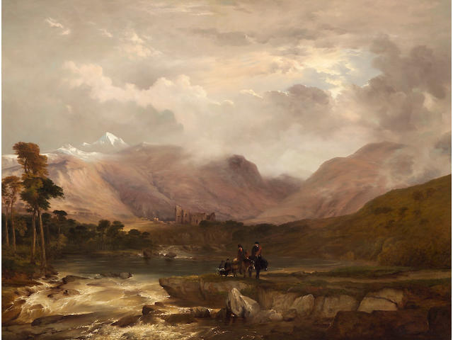 (n/a) Frederick Richard Lee (British, 1798-1879) Highland scenery: a snow storm passing off 41 x 54in