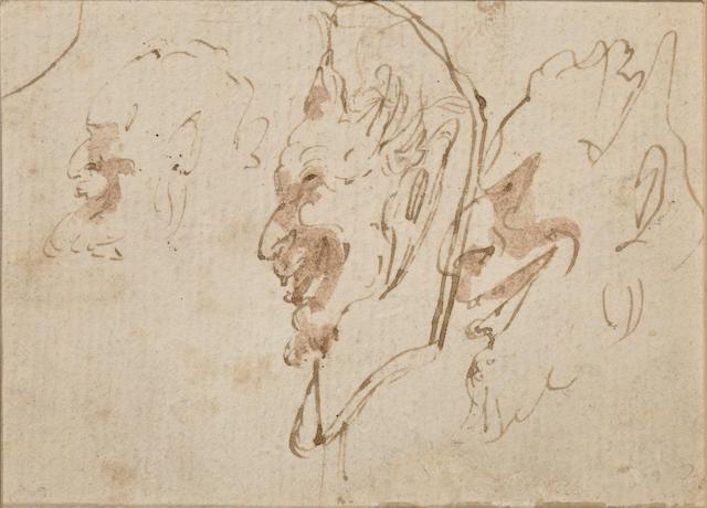 Attributed to Giovanni Battista Tiepolo (Italian, 1696-1770) Study of a grotesque 4 3/4 x 3 3/4in (12 x9.5cm) unframed