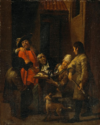 Jan Josef Horemans the Elder (Flemish, 1682-1759) A dispute in a courtyard 18 3/4 x 15 1/4in (47.6 x 38.7cm)
