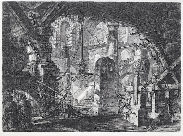 Giovanni Battista Piranesi (Italian, 1720-1778); The Pier with Chains, Pl. XVI, from Carceri d'invenzione;
