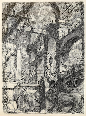 Giovanni Battista Piranesi (Italian, 1720-1778); Lion Bas Relief, Pl. V, from Carceri d'invenzione;