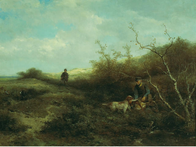 Johan Mari Henri Ten Kate (Dutch, 1831-1910) Pheasant shooting 28 1/2 x 37 1/2in (72.4 x 95.3cm)